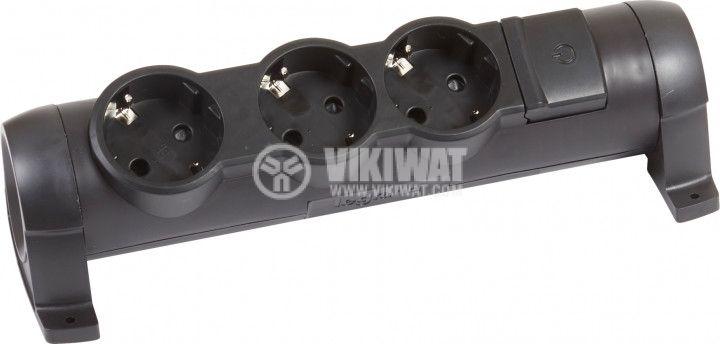 Разклонител без кабел 3 гнезда 16А 250V черен LEGRAND 694603
