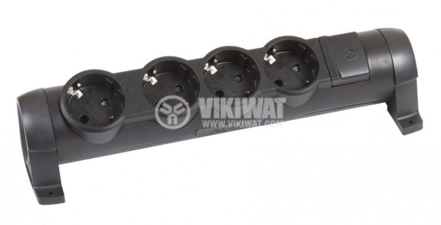 Разклонител без кабел 4 гнезда 16А 250V черен LEGRAND 694606 - 1
