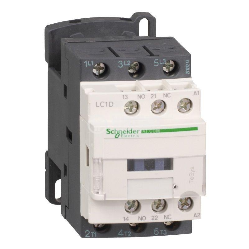 Контактор LC1D18B7, 3-полюсен, 3xNO, 24VAC, 18A, помощни контакти NO+NC
