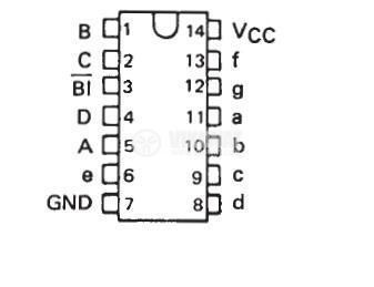 Интегрална схема 74LS49 , TTL серия LS, BCD-TO-SEVEN-SEGMENT DECODERS/DRIVERS, DIP16 - 2