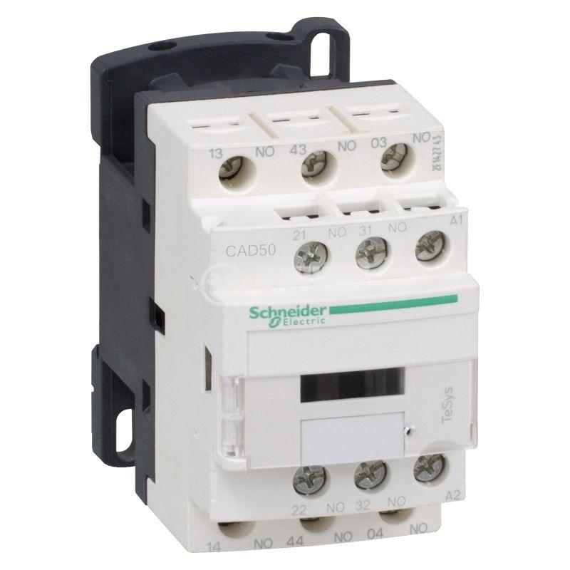 Контактор CAD50BD, 5-полюсен, 5xNO, 10A, 24VDC