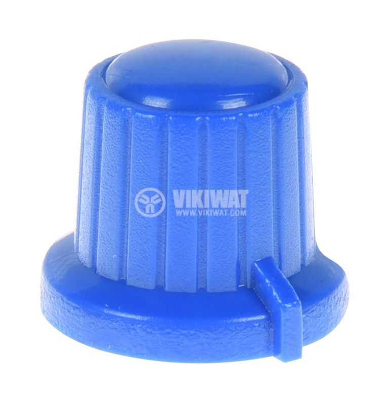 Копче за потенциометър VR01, ф18x15.5mm с индикатор, синьо - 1