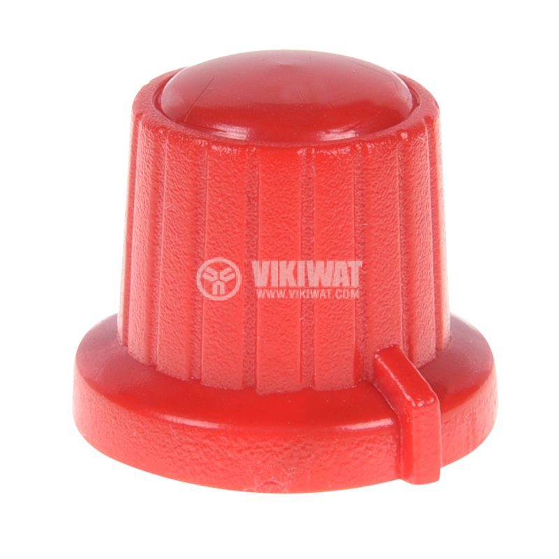 Копче за потенциометър VR01, ф18x15.5mm с индикатор, червено - 1