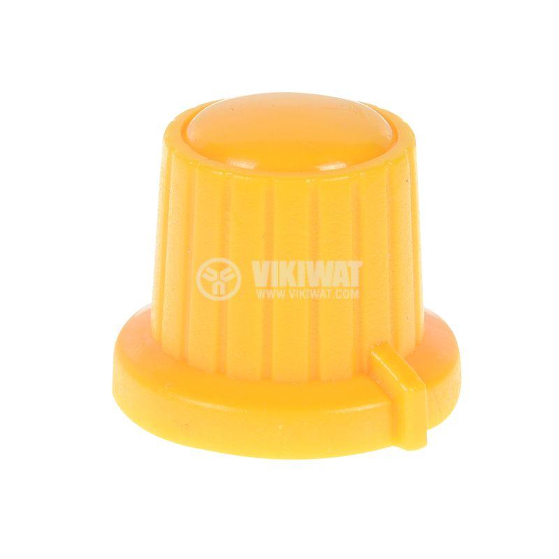 Копче за потенциометър VR01, ф18x15.5mm с индикатор, жълто - 1