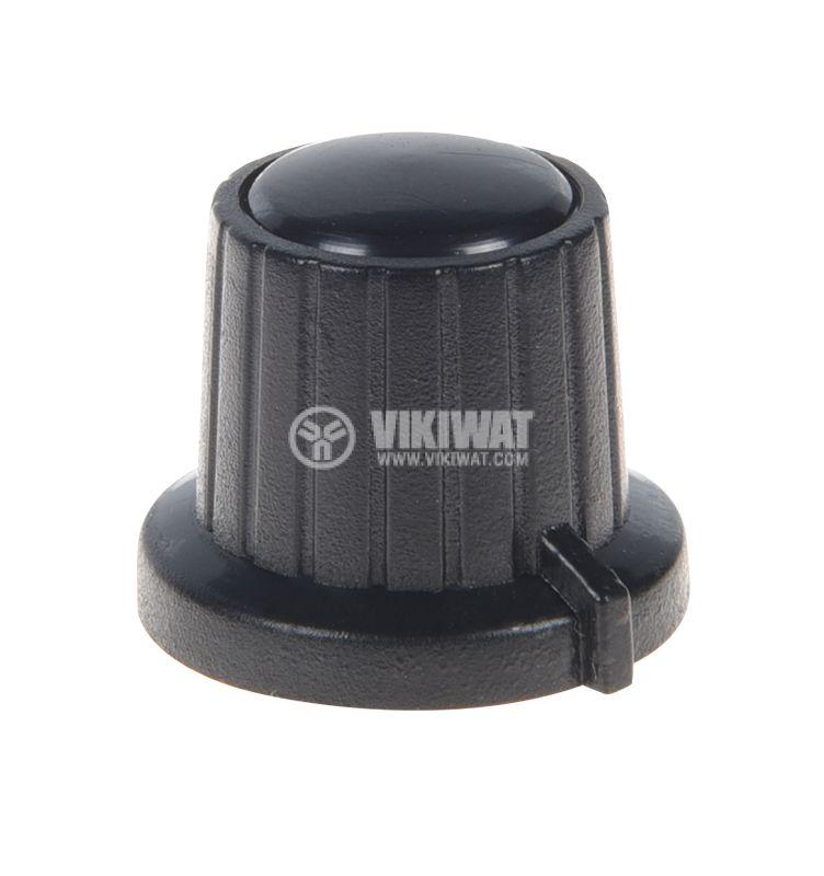 Копче за потенциометър VR01, ф18x15.5mm с индикатор, черно - 1