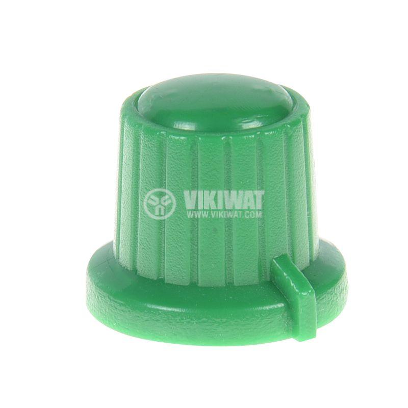 Копче за потенциометър VR01, ф18x15.5mm с индикатор, зелено - 1
