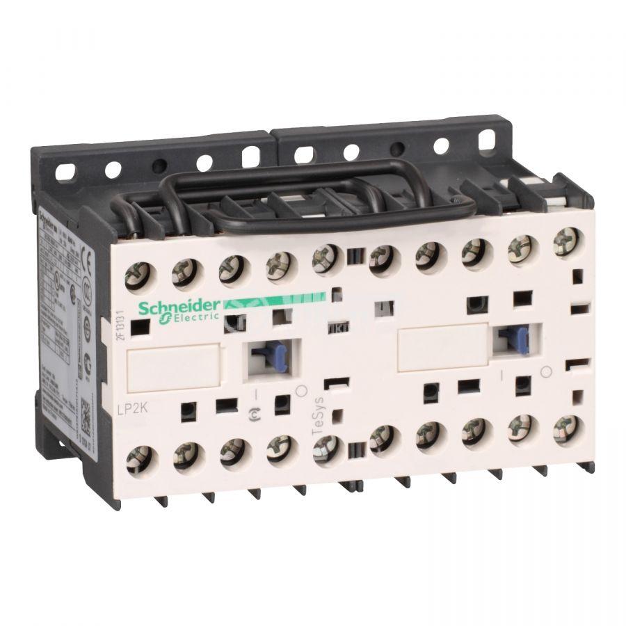 Реверсивен контактор LP2K1210BD 3-полюсен 3xNO 12A 24V помощен контакт NO