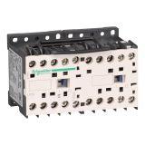 Реверсивен контактор LP2K1210BD, 3-полюсен, 3xNO, 12A, 24VDC, помощен контакт NO