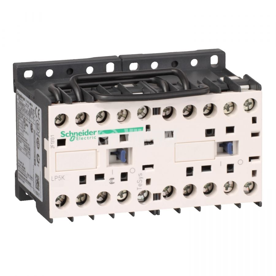 Реверсивен контактор LP5K0610BW3 3-полюсен 3xNO 6A 24VDC помощен контакт NO