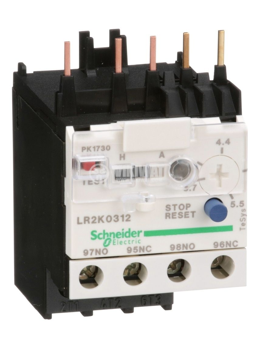 Термично реле LR2K0312 трифазно 3.7-5.5A NO+NC 6A/690V