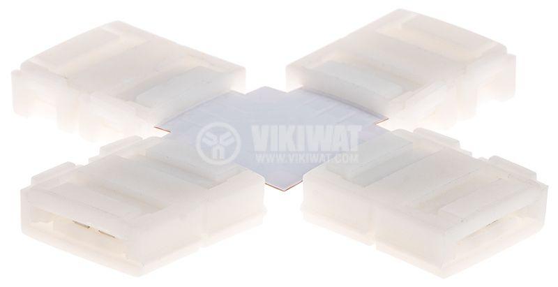 Свързващ конектор за LED лента RGB, кръстат, 10mm - 1