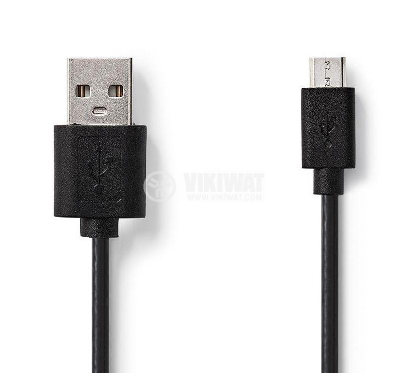 Кабел USB-micro USB 1m черен - 1