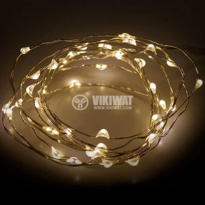 Коледна украса тип въже, 2.5m, топло бяло, 3 х AA батерии, 40 LEDs - 1