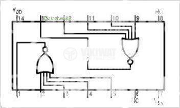 Интегрална схема, 4002, CMOS, 2 NOR, DIP14 - 2