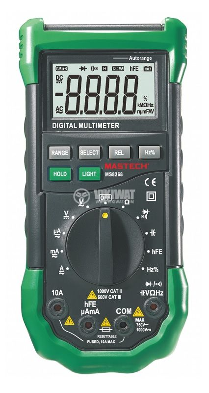 Мултицет MS8268, LCD(4000), Vdc, Vac, Adc, Aac, Ohm, F, Hz%