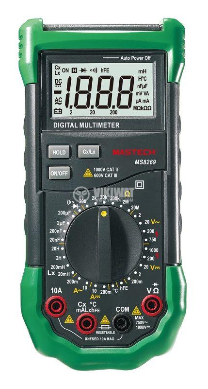 Цифров мултиметър MS8269, LCD(2000), Vdc/Vac/Adc/Aac/Ohm/F/H/°C