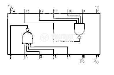 Интегрална схема 4012, CMOS, NAND GATES, DIP14 - 2