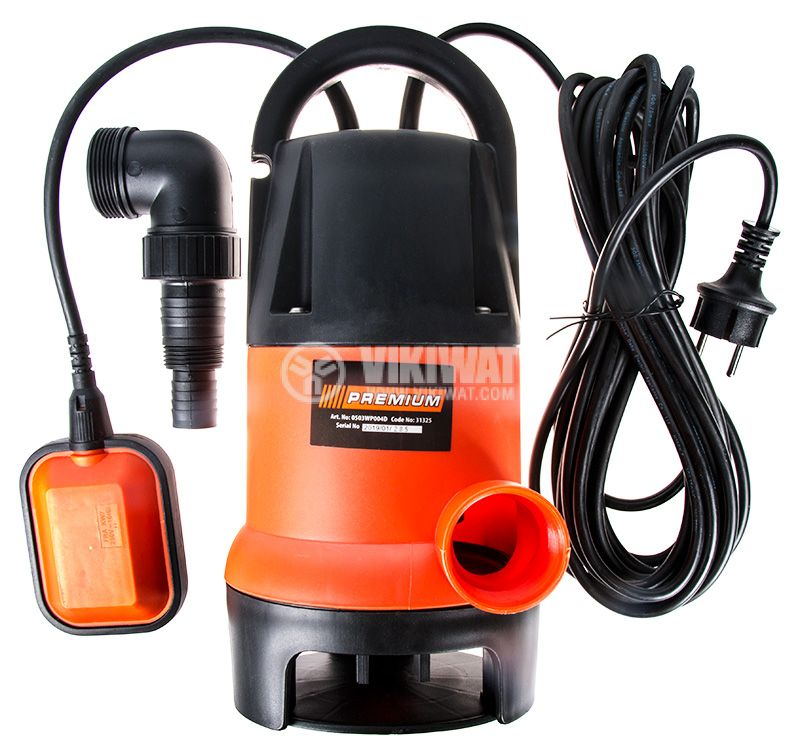 Потопяема помпа за мръсна вода 400W, 7500 l/h, 5m, Premium 0503WP004D - 1