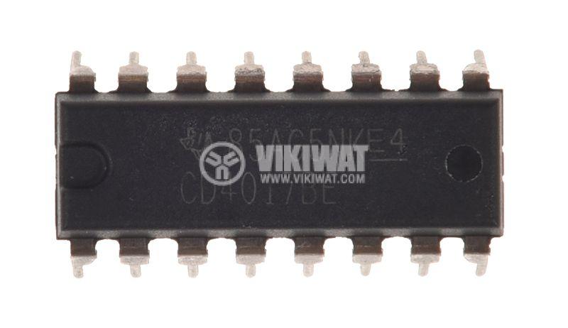 Integrated Circuit CD4017BE DIP16 3~18V THT CD4000 1.5mA - 1