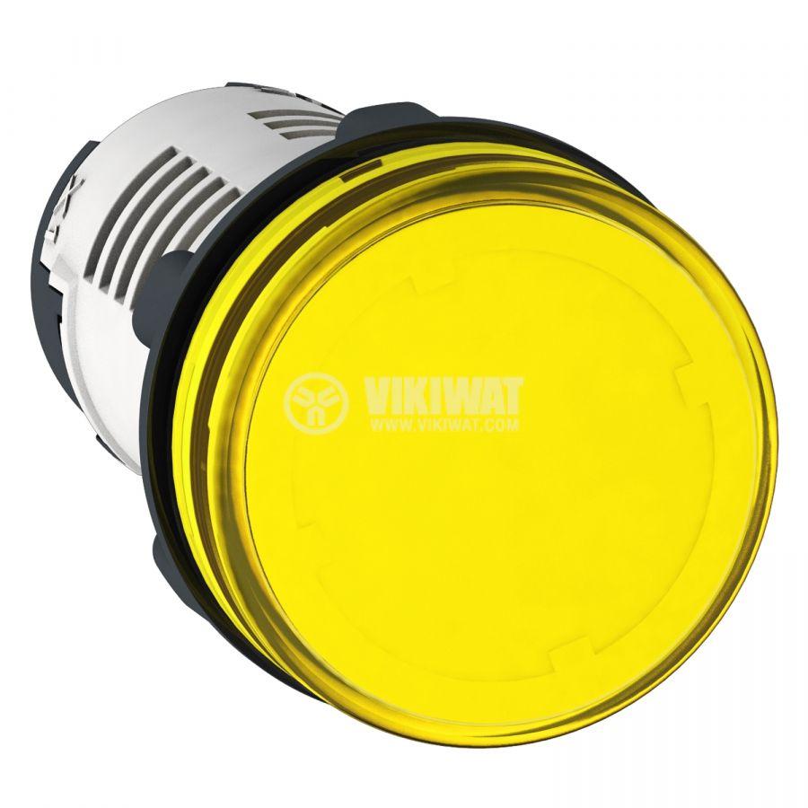Индикаторна лампа, LED, XB7EV05MP, 230VAC, жълта, отвор ф22mm