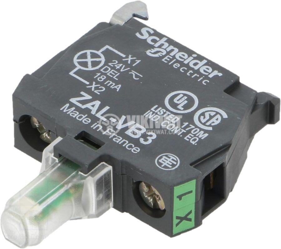 Индикаторна лампа ZALVB3 24VAC/VDC зелен отвор ф22mm - 1