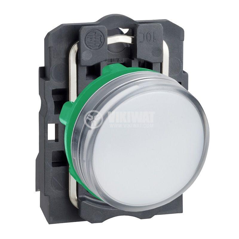 Индикаторна лампа LED, XB5AVB1, 24VAC/VDC, бяла, ф22mm