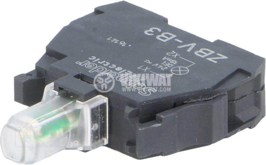 Индикаторна лампа LED ZBVB3 24VAC/VDC зелен отвор ф22mm - 1