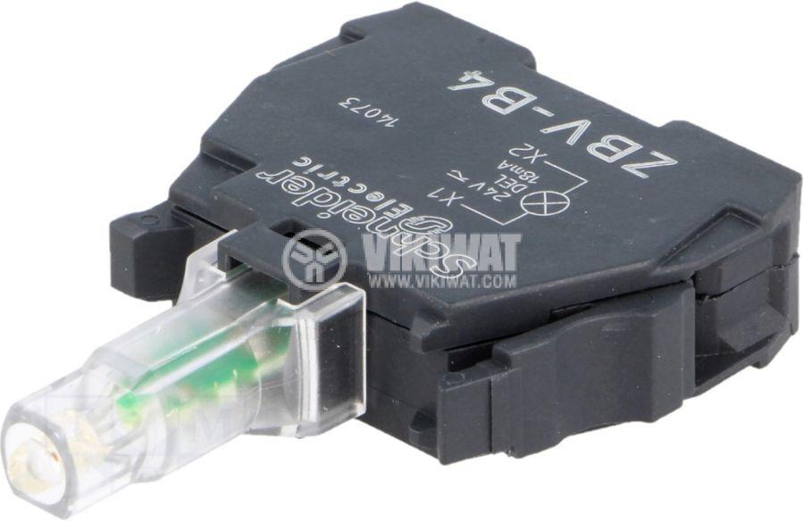 Индикаторна лампа LED ZBVB4 24VAC/VDC червен отвор ф22mm - 1