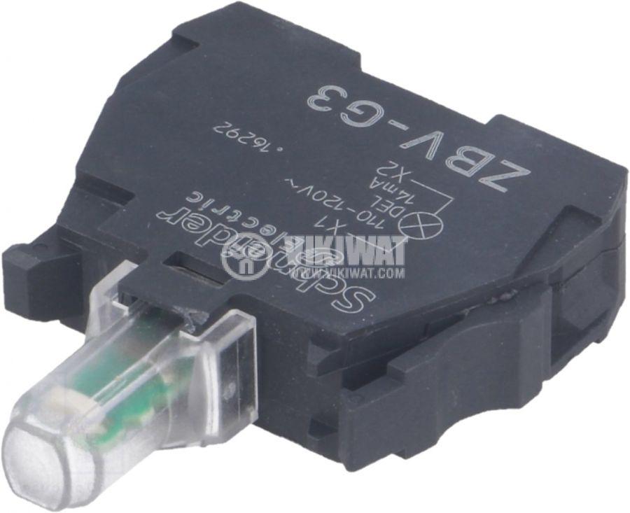 Индикаторна лампа LED ZBVG3 110-120V зелен отвор ф22mm - 1