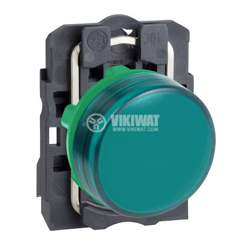 Индикаторна лампа LED, XB5AVM3, 230VAC, зелена, ф22mm