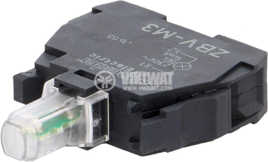 Индикаторна лампа LED ZBVM3 230-240V зелен отвор ф22mm - 1