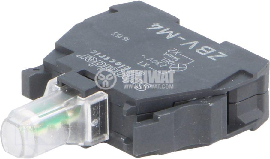 Индикаторна лампа LED ZBVM4 230-240V червен отвор ф22mm - 1