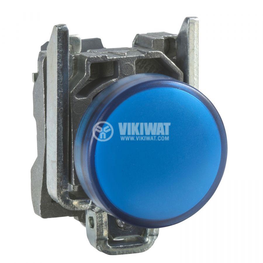 Индикаторна лампа, LED, XB4BVB6, 24VAC/VDC, синя, отвор ф22mm - 1