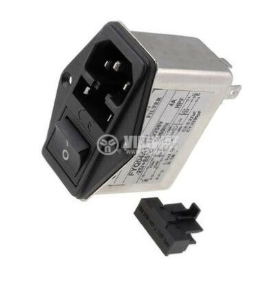 Захранващо гнездо FYQ04A1 АС копче и предпазител 4A 250V