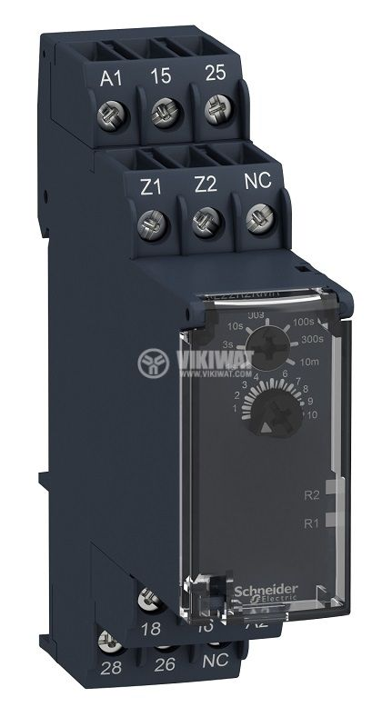 Time Relay, Delayed, RE22R2KMR, 24~240VAC/VDC, 2NO + 2NC, 5A/250VAC, 0.01s~10min