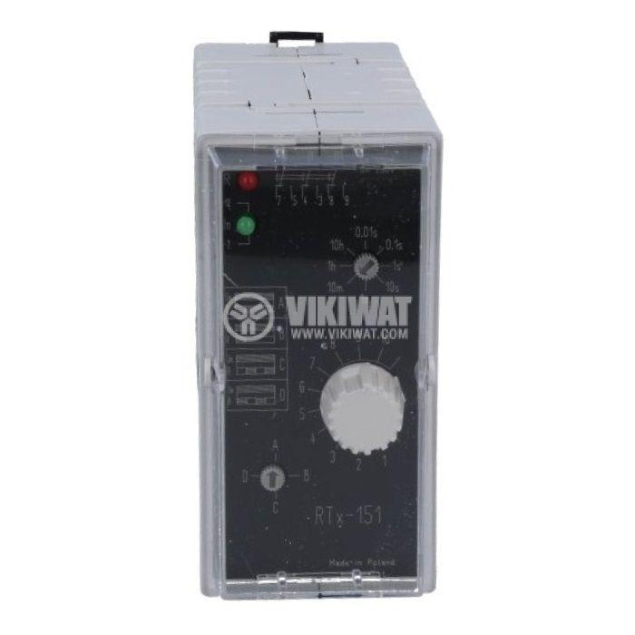Реле за време RTX151-220, многофункционално, 220~230VAC/VDC, 0.01s~100h, 3xNO+3xNC, 5A/250VAC