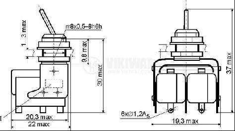 ЦК ключ MT3-B, 4А/250VAC, DPDT, ON-ON - 2