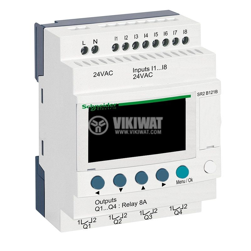 Programmable relay SR2B121B, 24VAC, 8 inputs, 4 outputs, DIN