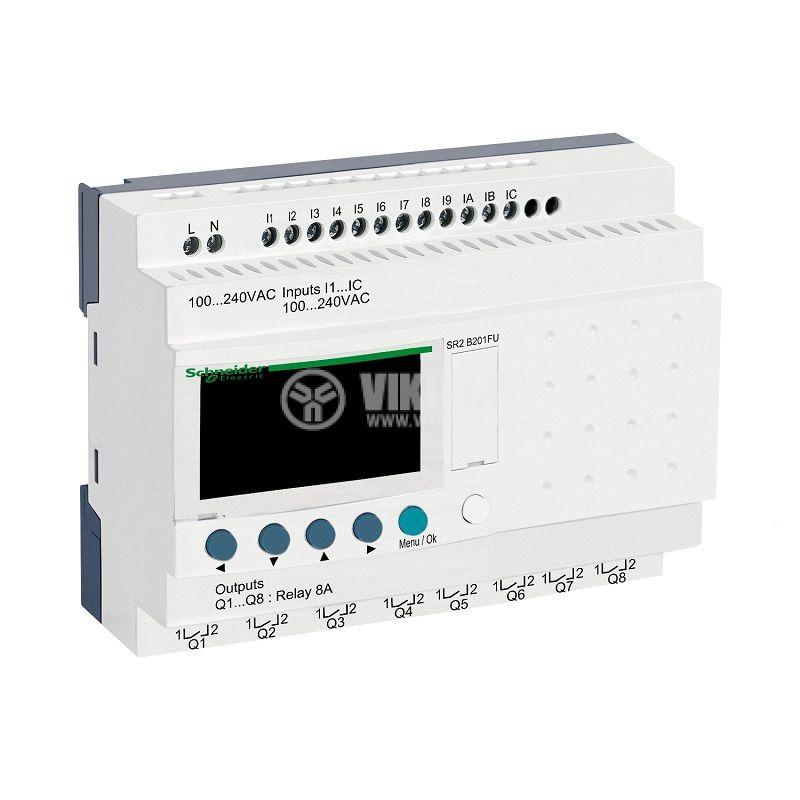 Реле програмируемо SR2B201FU, 100~240VAC, 12 входа, 8 изхода, DIN