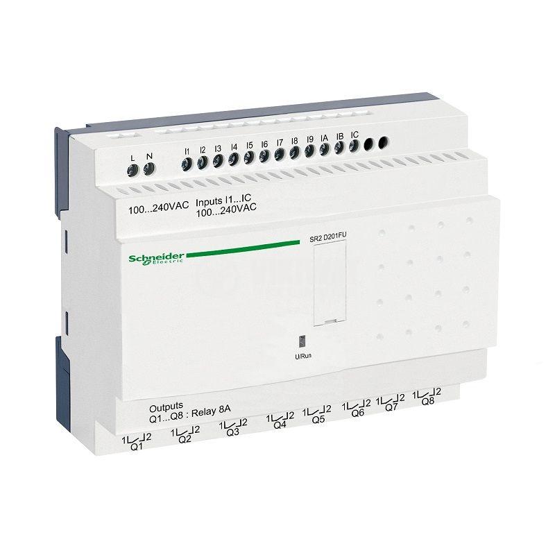 Реле програмируемо SR2D201FU, 100~240VAC, 12 входа, 8 изхода, DIN