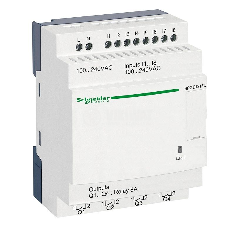 Programmable relay SR2E121FU, 100~240VAC, 8 inputs, 4 outputs, DIN