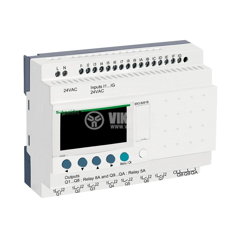 Programmable relay SR3B261B, 24VAC, 16 inputs, 10 outputs, DIN