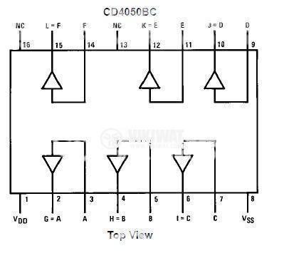 Интегрална схема 4050, CMOS, Hex Non-Inverting Buffer, DIP 16 - 2