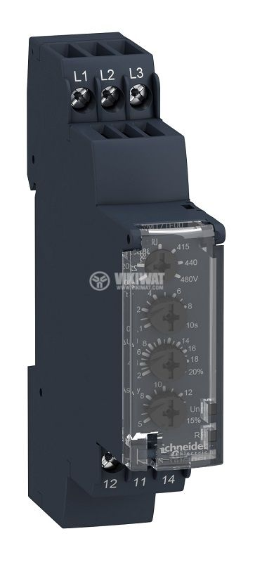 Voltage monitoring relay, RM17UB310, 220~480VAC, IP30, DIN
