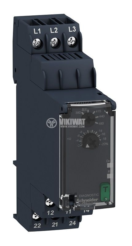 Контролно реле за напрежението, RM22TU23, 380~480VAC, IP40, DIN
