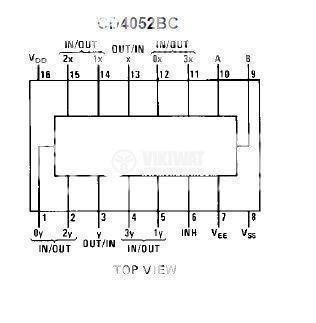 Интегрална схема 4052, CMOS, Dual 4-Channel Analog Multiplexer/Demultiplexer, DIP16 - 2