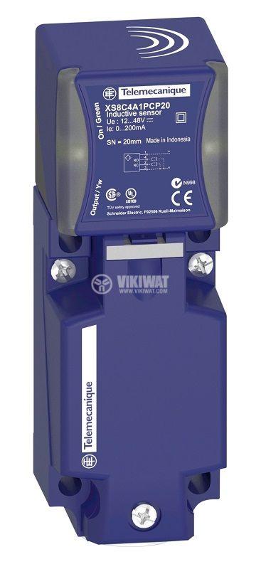 Индуктивен датчик XS8C4A1NCG13, 12~48VDC, NPN, NO+NC, 20mm, 40x40x17mm, екраниран