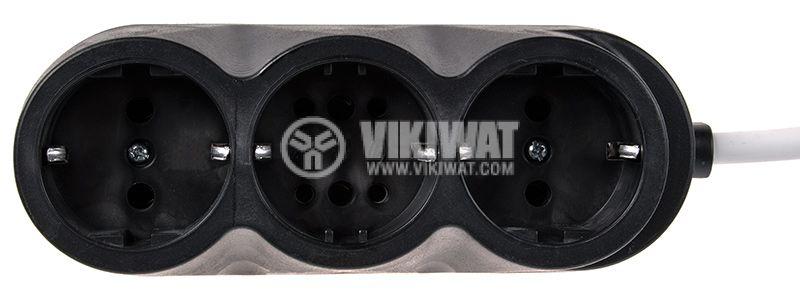 Разклонител 3-ка, гумиран, 3m кабел, черен, TODI - 1