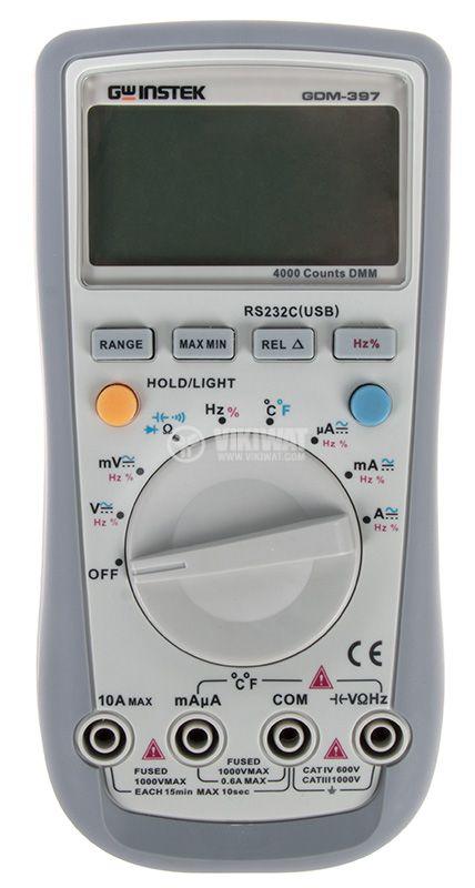 Дигитален мултиметър GDM-397, LCD(4000), Vdc/Vac/Adc/Aac/Ohm/F/Hz/C°, RS232 изход - 1