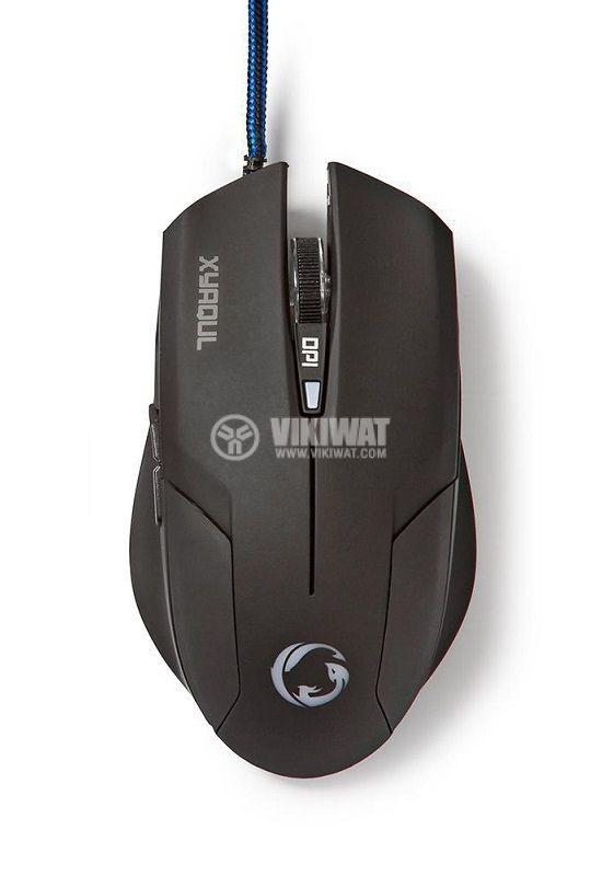Геймърска оптична мишка с 6 бутона GMWD100BK, 1600 dpi - 1